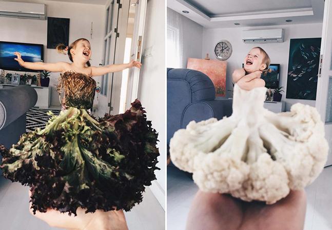 Mãe e filha se divertem criando 'roupas' usando comida e muita ilusão de ótica