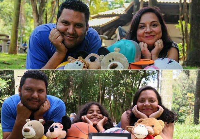 Casal faz ensaio de 'antes e depois' para celebrar chegada de filha adotiva