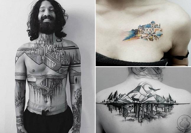 Estas tattoos de criações arquitetônicas são totalmente sensacionais