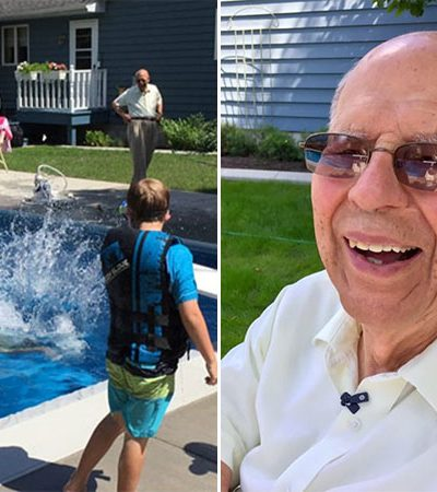 Após a morte de sua mulher, esse homem de 94 anos construiu uma piscina no jardim pra ter a companhia de crianças vizinhas