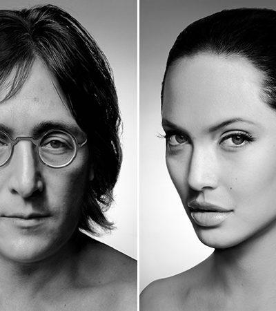 Os impressionantes retratos de celebridades feitos de pedaços do rosto de pessoas comuns
