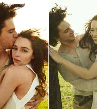 O ensaio em que Kit Harington (Jon Snow) e Emilia Clarke (Daenerys) se beijam está enlouquecendo fãs de GOT