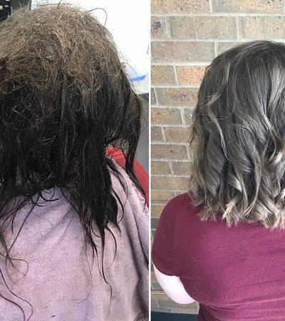 A transformação do cabelo de uma adolescente mostra o impacto físico que a depressão pode ter