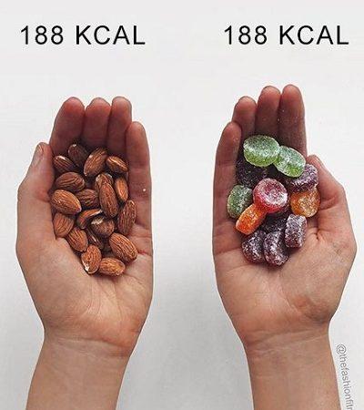 Blogger compara diferentes alimentos para te fazer repensar suas ideias sobre calorias