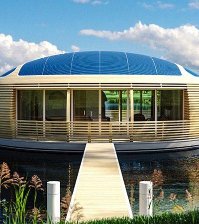 Casa flutuante dos sonhos é feita de material reciclável e movida a energia solar