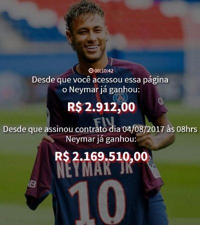 Esse site é a melhor forma de entender em tempo real quanto Neymar recebe do PSG a cada segundo