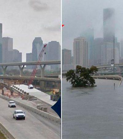 Imagens chocantes mostram o Texas antes e depois do furacão Harvey