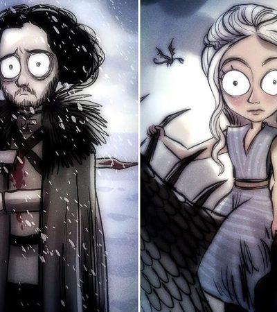 Artista imagina como seria se Game Of Thrones fosse um quadrinho ilustrado por Tim Burton