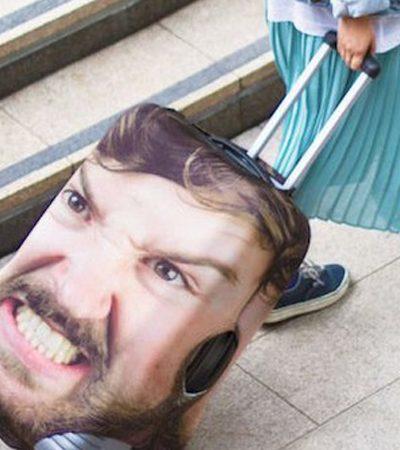 Essa mala de viagem tem a melhor arma contra furtos: seu rosto estampado