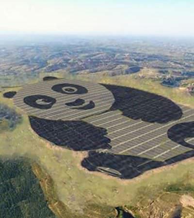 A incrível estação de energia solar chinesa em forma de panda