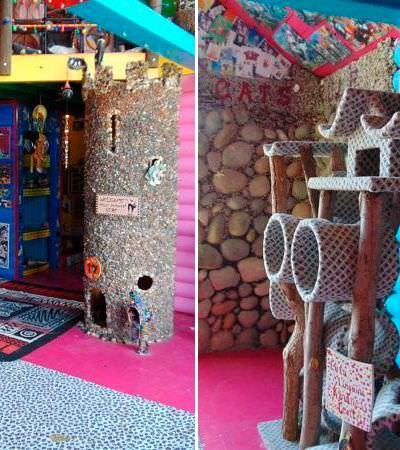 Essa casa parece super modesta por fora, mas por dentro é o melhor playground que seus gatos poderiam pedir