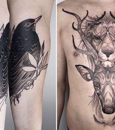 Ela cria tattoos originais misturando art nouveau e natureza