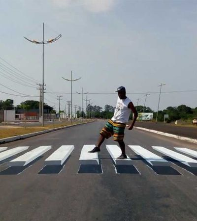 Após testes pelo mundo, grafiteiros criam faixa de pedestre 3D em cidade brasileira