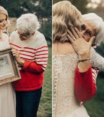 Esta noiva surpreendeu a avó usando o mesmo vestido de casamento que ela usou em 1962