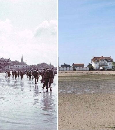 Incríveis imagens mostram como estão e como eram cenários da Segunda Guerra Mundial