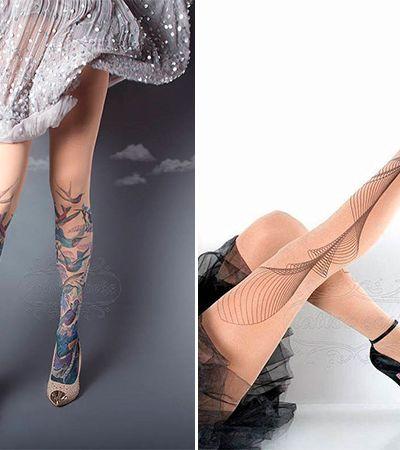Meias calças feitas à mão simulam tatuagens com perfeição