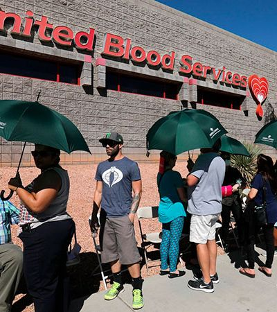 Comovidos, doadores de sangue formam filas de 8 horas por vítimas de ataque em Las Vegas