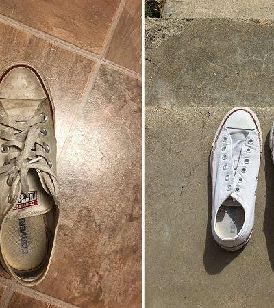 Ela descobriu como deixar seu tênis branquinho de novo sem usar água sanitária