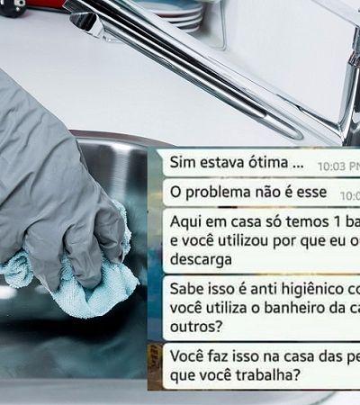 Mulher joga fora talheres usados por empregada doméstica e a demite por usar o banheiro