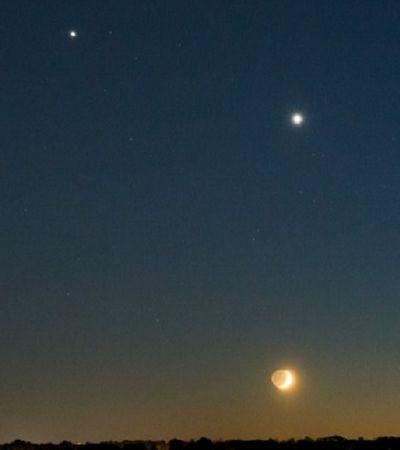 Vênus e Júpiter apareceram lado a lado e puderam ser vistos a olho nu nesta segunda-feira