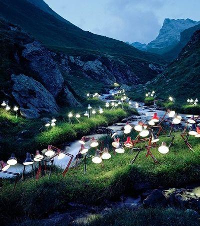 Estas instalações feita com luminárias deixaram a natureza ainda mais linda