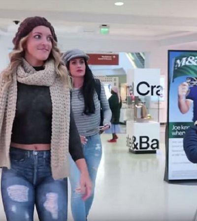 Modelo visita shopping usando só pintura corporal e provoca reações hilárias dos vendedores