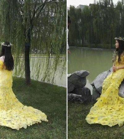 Eles passaram 4 meses criando esse vestido inteiro feito de folhas de verdade