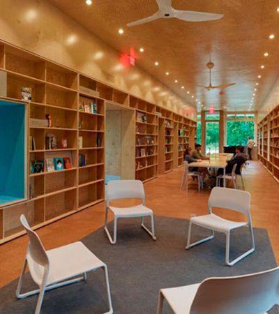 Estudantes de arquitetura transformam antiga agência bancária em aconchegante livraria