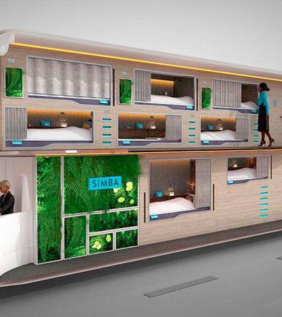 O ônibus 'mais que leito' futurista onde os passageiros vão deitados