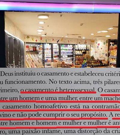 Supermercado Hirota distribui cartilha dizendo que casamento homoafetivo é 'antinatural, um erro'