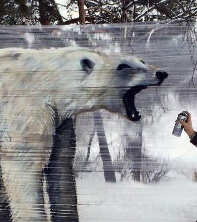 Você não iria querer topar com um destes animais grafitados numa floresta