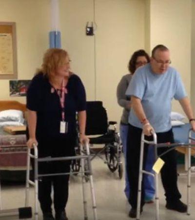 Após 9 semanas internado, paciente comemora recuperação de AVC dançando no hospital