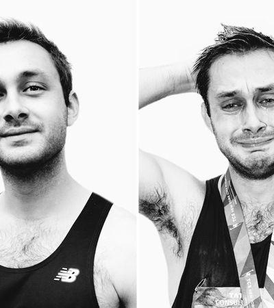 Retratos de sofrimento e da glória: O antes e depois dos maratonistas de Nova York