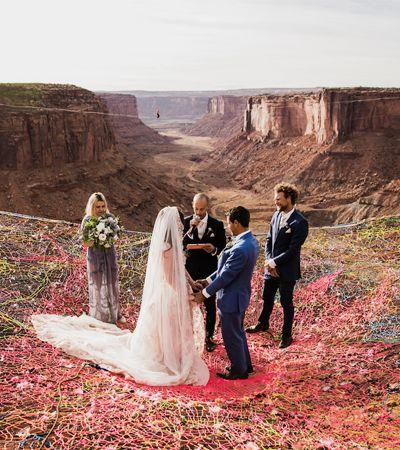 As fotos deste casamento em um penhasco de 120 metros de altura ficaram ótimas