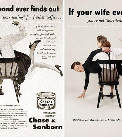 Fotógrafo troca mulheres por homens em anúncios antigos para escancarar sexismo