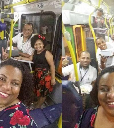 Família de cobrador passa virada dentro de ônibus para entrar em 2018 unida