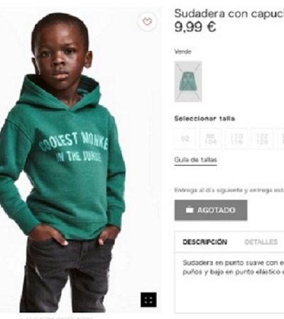 H&M veste criança negra com blusa com a frase 'macaco mais legal da selva'