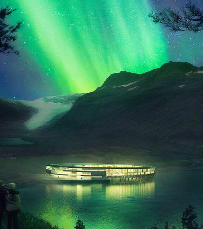 Hotel inspirado em nave alienígena cria clima de outro mundo para ver a aurora boreal