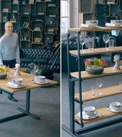 A maravilhosa mesa que vira prateleira em apenas dois segundos