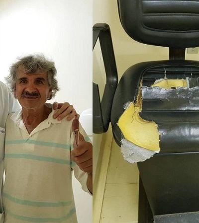 Paciente da Santa Casa se preocupa com situação precária de cadeiras e resolve arrumá-las