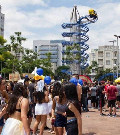 Em São Paulo, Largo da Batata tem chuveiro de glitter e montanha-russa durante Carnaval