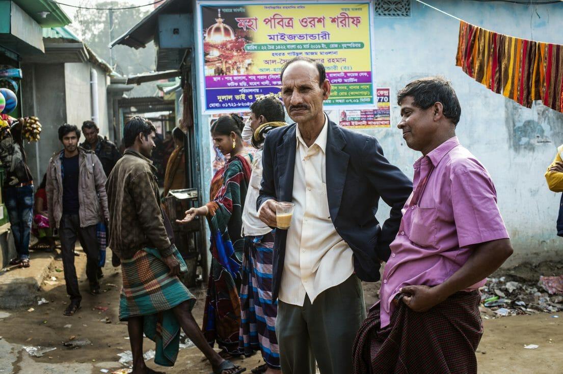 Customers inside the Kandapara brothel in Tangail.