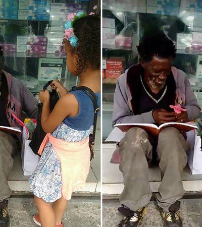 Menina faz aniversário e dá bolo para amigo em situação de rua