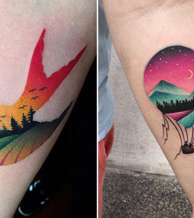 Ela cria tattoos mesclando paisagens, dupla exposição e good vibes