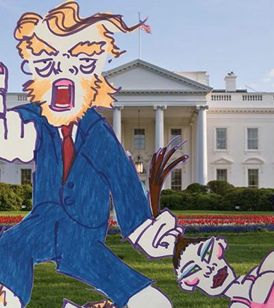 Depois de pintor, agora é a vez de Jim Carrey virar cartunista político