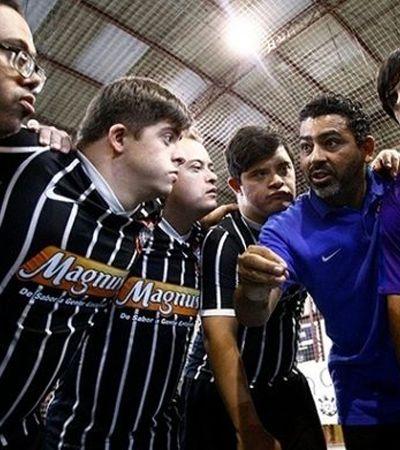 Ação celebra o time de futsal down do Corinthians que jamais perdeu convocando a torcida alvinegra
