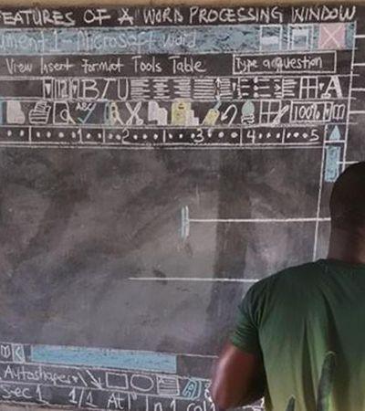 Professor de Gana que ensinava computação em lousa ganha computadores