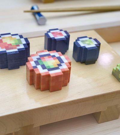 Sushi pixelado e 'impresso': Startup cria impressora 3D capaz de recriar fielmente os sabores