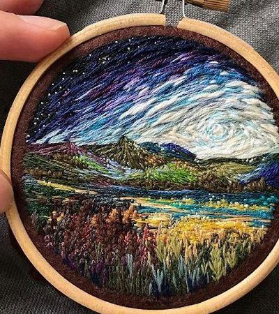 Com bordado, ela cria lindas paisagens que mais parecem pinturas