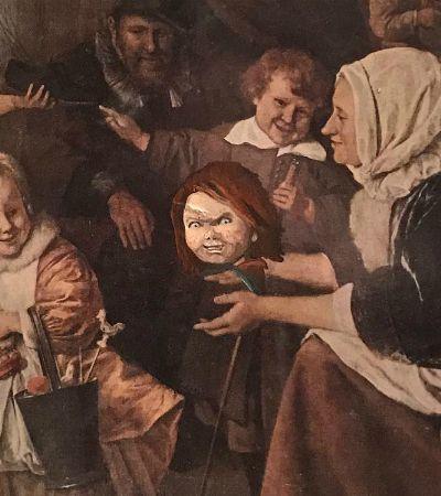 Artista pinta personagens hilários em obras de arte abandonadas